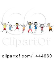 Poster, Art Print Of Group Of Stick Children Cheering
