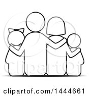Clipart Of A Black And White Lineart Rear View Of A Family Royalty Free Vector Illustration