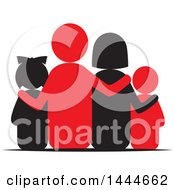 Clipart Of A Rear View Of A Family Royalty Free Vector Illustration