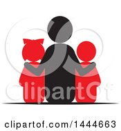 Clipart Of A Rear View Of A Father And Two Children Royalty Free Vector Illustration