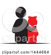 Clipart Of A Rear View Of A Father And Daughter Royalty Free Vector Illustration