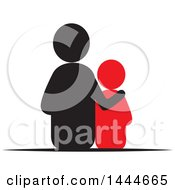 Clipart Of A Rear View Of A Father And Son Royalty Free Vector Illustration