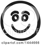 Clipart Of A Black And White Happy Smiley Emoticon Face Royalty Free Vector Illustration