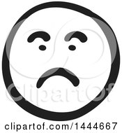 Black And White Unhappy Smiley Emoticon Face