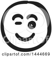 Black And White Flirty Smiley Emoticon Face
