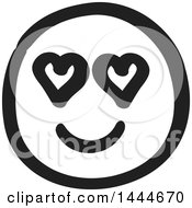 Black And White Love Struck Smiley Emoticon Face