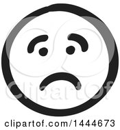 Black And White Sad Smiley Emoticon Face