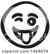 Clipart Of A Black And White Silly Smiley Emoticon Face Royalty Free Vector Illustration