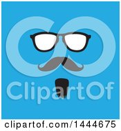 Clipart Of A Face With A Mustache Goatee And Glasses On Blue Royalty Free Vector Illustration