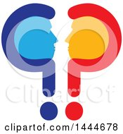 Clipart Of A Silhouetted Blue And Orange Profiled Male Faces Mirrored In Question Marks Royalty Free Vector Illustration