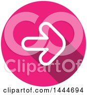 Clipart Of A Flat Sytled Round White And Pink Forward Arrow Icon Button Royalty Free Vector Illustration