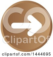 Clipart Of A Round White And Brown Forward Arrow Icon Button Royalty Free Vector Illustration
