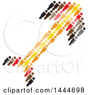 Arrow Formed Of Black Brown Red Orange And Yellow People