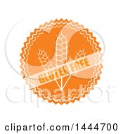 Clipart Of A Round Orange And White Gluten Free Label Royalty Free Vector Illustration