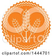 Clipart Of A Round Orange And White Gluten Wheat Label Royalty Free Vector Illustration
