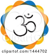 Clipart Of A Black Meditation Om Symbol In A Circle Royalty Free Vector Illustration by ColorMagic