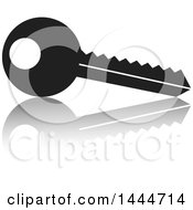Clipart Of A Key And Reflection Royalty Free Vector Illustration