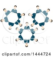 Poster, Art Print Of Gears Made Of White Business Men
