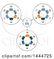 Clipart Of Gears Made Of White Business Men And A Boss Royalty Free Vector Illustration