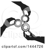 Clipart Of A Group Of Hands And Gears Royalty Free Vector Illustration