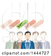 Clipart Of A Line Of Faded Out White Business Men With One Selected Royalty Free Vector Illustration