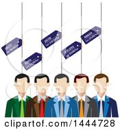 Poster, Art Print Of Line Of White Business Men With Career Tags