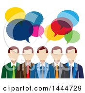 Clipart Of A Line Of White Business Men With Colorful Speech Balloons Royalty Free Vector Illustration