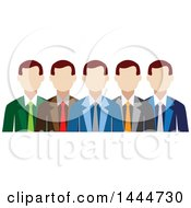 Clipart Of A Line Of White Business Men Royalty Free Vector Illustration