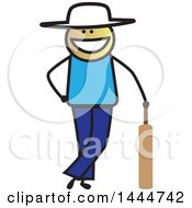 Clipart Of A Happy Stick Man Leaning On A Cricket Bat Royalty Free Vector Illustration