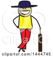 Poster, Art Print Of Happy Stick Man Leaning On A Cricket Bat