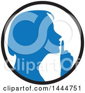 Clipart Of A Blue Silhouetted Woman Shushing Inside A Circle Royalty Free Vector Illustration