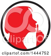 Clipart Of A Red Silhouetted Woman Shushing Inside A Circle Royalty Free Vector Illustration