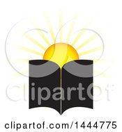 Clipart Of A Sun And Open Book Royalty Free Vector Illustration