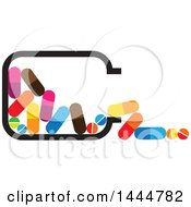 Clipart Of A Spilled Bottle Of Colorful Pills Royalty Free Vector Illustration