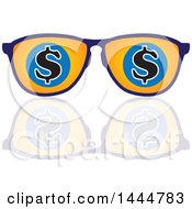 Poster, Art Print Of Pair Of Sunglasses With Usd Dollar Currency Symbols And A Reflection