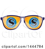 Clipart Of A Pair Of Sunglasses With Usd Dollar Currency Symbols Royalty Free Vector Illustration