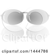 Pair Of Grayscale Sunglasses And A Reflection