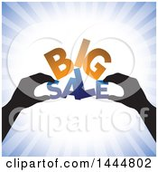 Clipart Of A Pair Of Silhouetted Hands Assembling BIG SALE Over Blue Rays Royalty Free Vector Illustration