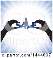 Clipart Of A Pair Of Silhouetted Hands Assembling SALE Over Blue Rays Royalty Free Vector Illustration by ColorMagic