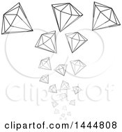 Clipart Of Falling Grayscale Diamonds Royalty Free Vector Illustration