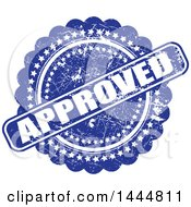 Clipart Of A Distressed Blue Approved Badge Royalty Free Vector Illustration