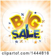Clipart Of A Big Sale Design On Orange Rays Royalty Free Vector Illustration