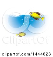 Yellow Fish Swimming In Blue Water
