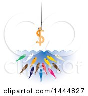 Clipart Of A Dollar Currency Symbol On A Hook Over Hungry Colorful Fish Royalty Free Vector Illustration