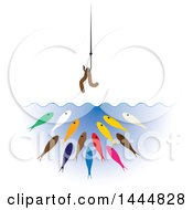 Clipart Of A Worm On A Hook Over Hungry Colorful Fish Royalty Free Vector Illustration by ColorMagic