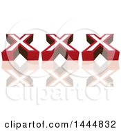 Clipart Of A XXX Design With A Reflection Royalty Free Vector Illustration