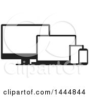 Black And White Television Laptop Tablet And Cell Phone Screens