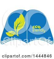 Clipart Of A Book With Open Pages Leaves And Eco Friendly Text Royalty Free Vector Illustration