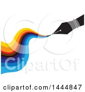 Pen Nib With Colorful Ink