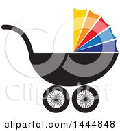 Poster, Art Print Of Baby Carriage With A Colorful Cover